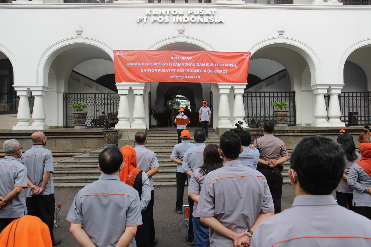 Jelang Lebaran, Pos Indonesia Gelar Apel Siaga Nasional Pos Komando RAFI 2021