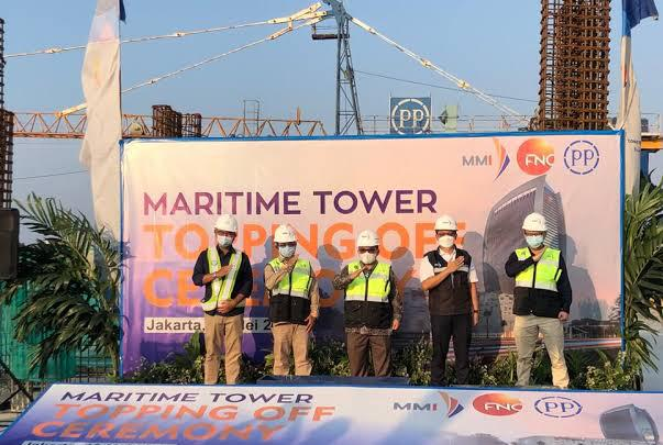 PT PP Topping Off Ceremony Proyek Maritime Tower Bernilai 706 Miliar