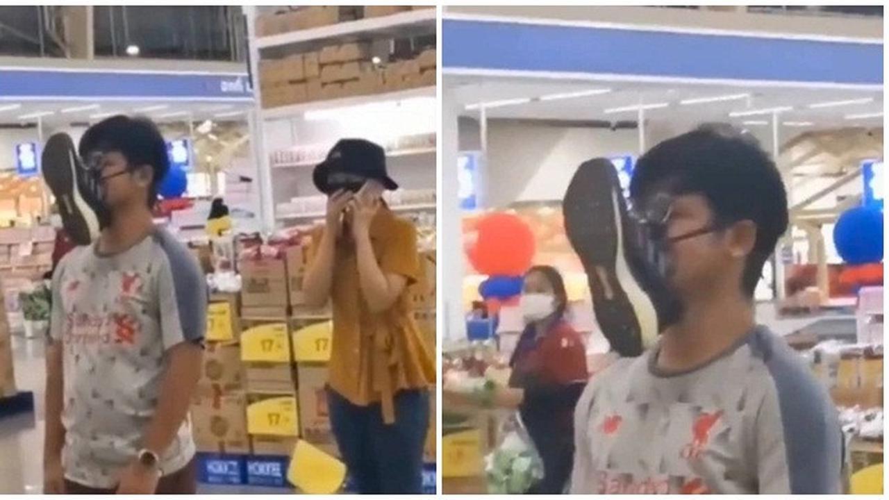 Viral Aksi Pria Gunakan Sepatu sebagai Pengganti Masker Jadi Sorotan Netizen