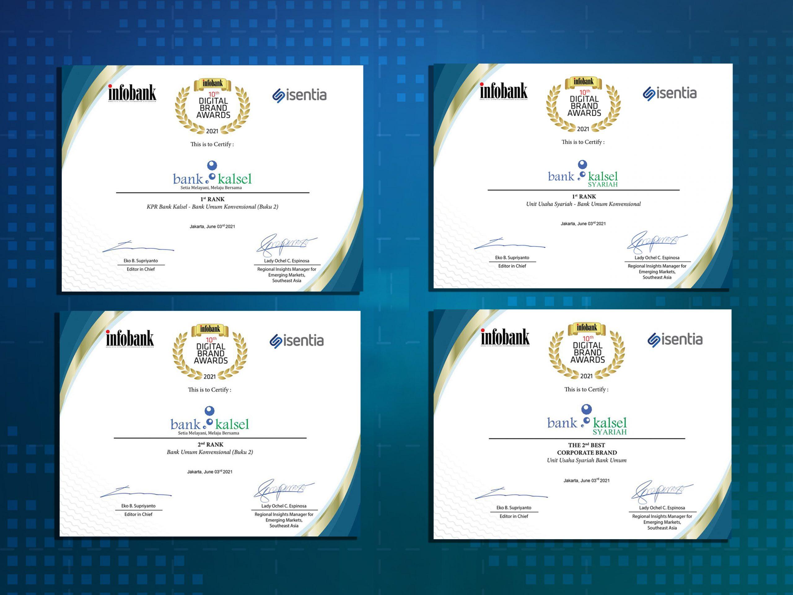 Bank Kalsel Raih 4 Penghargaan Digital Brand Awards 2021
